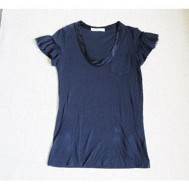 sacai luck(サカイラック)のサカイラック sacai luck フリルカットソー Tシャツ 紺 レディースのトップス(Tシャツ(半袖/袖なし))の商品写真