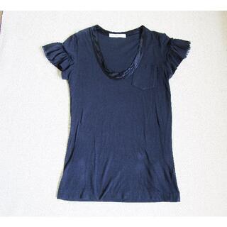 サカイラック(sacai luck)のサカイラック sacai luck フリルカットソー Tシャツ 紺(Tシャツ(半袖/袖なし))