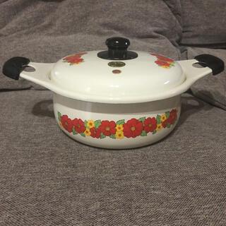 象印 - 昭和レトロ 両手鍋 ホーロー鍋 白熊印  昭和レトロポップ 花柄 調理器具