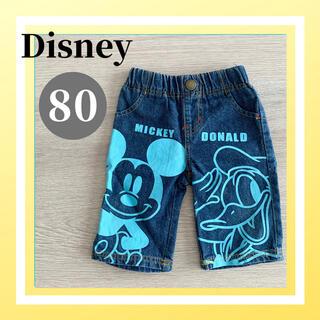 ディズニー(Disney)の美品 Disney ディズニー デニム ハーフパンツ ミッキー 通園着 ベビー(パンツ)