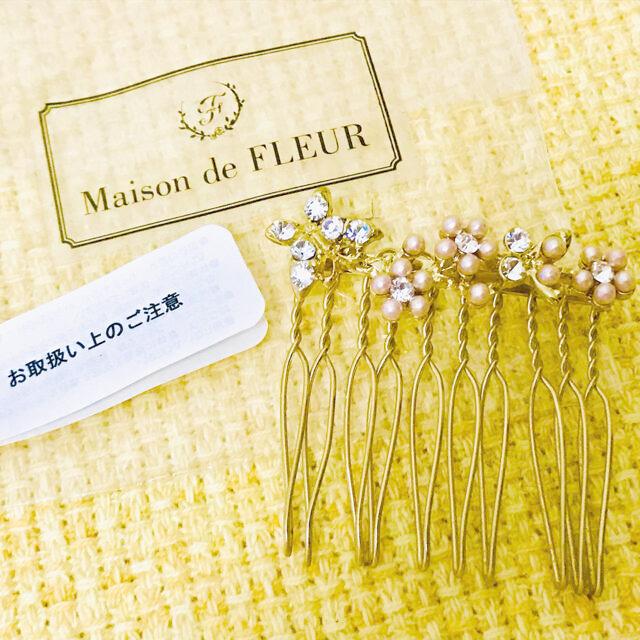 Maison de FLEUR(メゾンドフルール)の【メゾンドフルール】きらきらフラワーヘアコーム レディースのヘアアクセサリー(その他)の商品写真