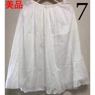 ムジルシリョウヒン(MUJI (無印良品))の美品♡コムサイズム 白 ふんわりシフォン スカート サイズ7(ひざ丈スカート)