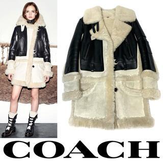 コーチ(COACH)のCOACH コーチ リアル ムートン レザー バイカー コート ジャケット S(その他)
