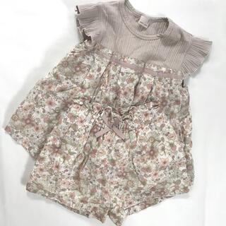 プティマイン(petit main)のプティマイン  花柄タックドッキングテレコチュニック パンツ セット販売(Tシャツ/カットソー)