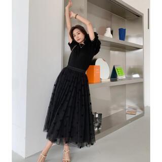 アメリヴィンテージ(Ameri VINTAGE)のオーガンジーレイヤードDOTスカート(ひざ丈スカート)