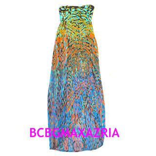 ビーシービージーマックスアズリア(BCBGMAXAZRIA)の値下 新品 BCBGMAXAZRIA リゾートロングワンピース ベアトップ(ロングワンピース/マキシワンピース)