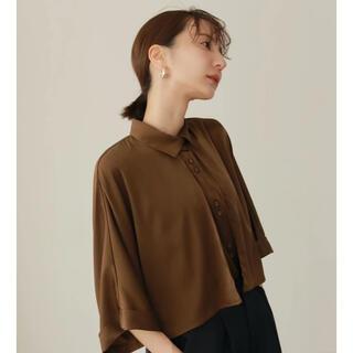 peachskin satin shirt dark brown(シャツ/ブラウス(長袖/七分))