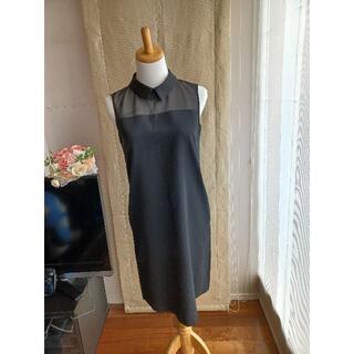 ボールジィ(Ballsey)のBallsey(ボールジィ)38 美品 エレガントな黒いワンピース♪ 襟は着脱可(ひざ丈ワンピース)