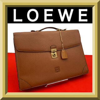 LOEWE - LOEWE ビジネスバッグ アナグラム レザー ブリーフケース 茶 ブラウン