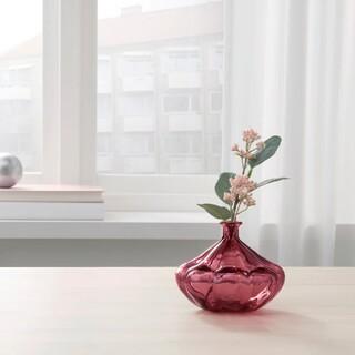 IKEA - IKEA ガラス 花瓶 ダークレッド 11cm ヴァンリゲン