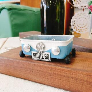R0704d newワーゲンカー四角缶☆スモーキーブルー 1個(リメ缶・リメ鉢)(その他)