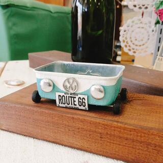 R0704f newワーゲンカー四角缶☆ペールグリーン 1個(リメ缶・リメ鉢)(その他)