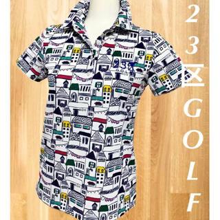 ニジュウサンク(23区)の美品⛳️23区ゴルフ  総柄 半袖ポロシャツ レディース ゴルフウェア(ウエア)