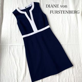 DIANE von FURSTENBERG - 値下げ❗️DAIAN von FURSTENBERG Vネック ワンピ ネイビー