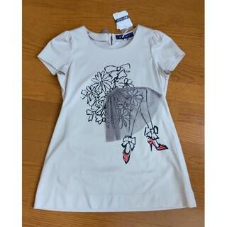 エムズグレイシー(M'S GRACY)の(未使用品タグ付き)エムズグレイシー38 お花とドレスのチュニック(Tシャツ(半袖/袖なし))