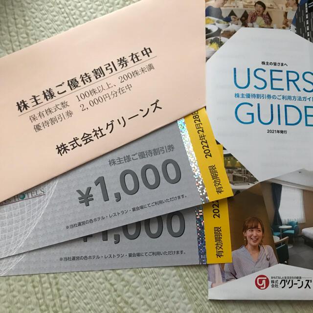 グリーンズ 株主優待券2000円分 チケットの優待券/割引券(その他)の商品写真