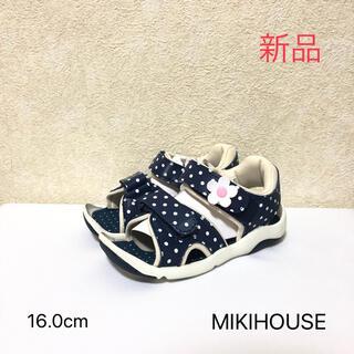 ミキハウス(mikihouse)のMIKIHOUSE ミキハウス サンダル 紺 水玉 16cm(サンダル)