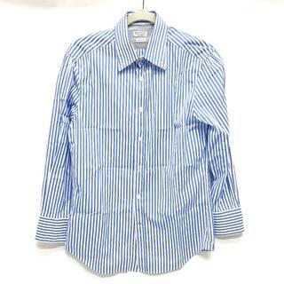 ブルネロクチネリ(BRUNELLO CUCINELLI)のブルネロクチネリ ストライプ ダブルカフス 長袖シャツ ホワイト×ブルー(シャツ)