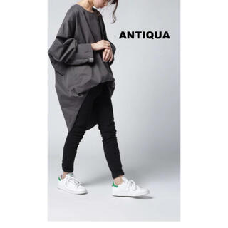 antiqua - 【antiqua】ざっくり絶妙シルエット。リブ切替ロングトップス