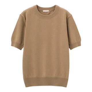 ジーユー(GU)のUVカットウォッシャブルクルーネックセーター(半袖)(Tシャツ(半袖/袖なし))