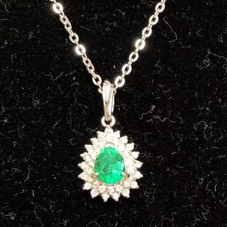 【超美品】0.5ctエメラルド、0.2ctダイヤ、Pt900 ペンダント(ネックレス)