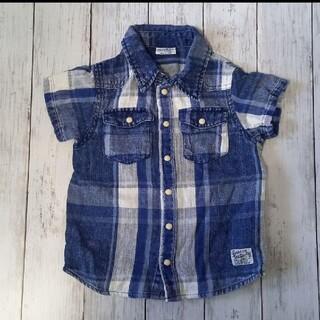 ブリーズ(BREEZE)のブリーズ インディゴチェックシャツ 100cm(ブラウス)