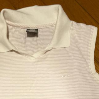 ナイキ(NIKE)のNIKE ナイキゴルフ 袖なし ストライプポロシャツ 小さなシミあり(ポロシャツ)