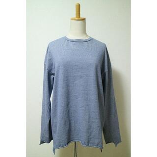 アンユーズド(UNUSED)のアンユーズド ロングスリーブ ボーダー Tシャツ カットソー Tee ブルー(Tシャツ/カットソー(七分/長袖))