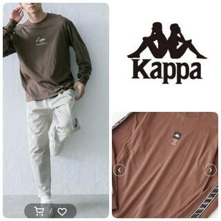 カッパ(Kappa)の♡kappa 新品別注袖テープロゴロンティ長袖Lブラウン茶 メンズレディース韓国(Tシャツ/カットソー(七分/長袖))
