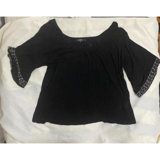アズールバイマウジー(AZUL by moussy)のAZUL bymoussy 黒チュニック フリーサイズ 袖にスパンコール(チュニック)