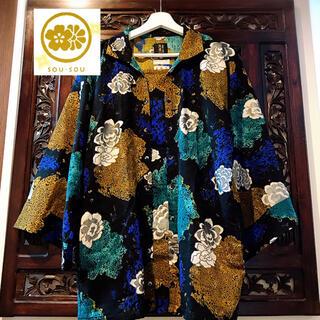 ソウソウ(SOU・SOU)のソウソウ SOU・SOU 陣風靡 カットソー 花柄 青 羽織物 和装 着物 (着物)