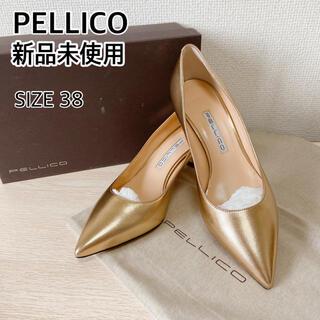 ペリーコ(PELLICO)の新品 ペリーコ パンプス 24.5 25 ゴールド ハイヒール 結婚式 美品(ハイヒール/パンプス)