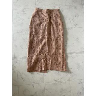 ココディール(COCO DEAL)のレンアイケイカクレーススカート ベージュ(ひざ丈スカート)