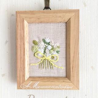 Bouquet刺繍*インテリアフレーム white(その他)