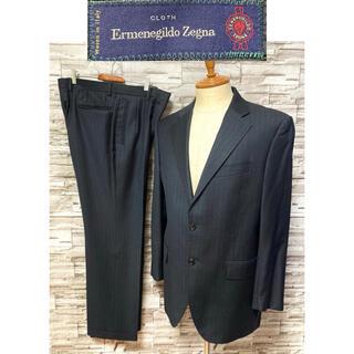 エルメネジルドゼニア(Ermenegildo Zegna)のゼニア Zegna セットアップ スーツ ネイビー ストライプ 美品(セットアップ)