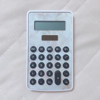 電卓 ミニ 大理石風(オフィス用品一般)