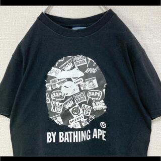 アベイシングエイプ(A BATHING APE)のbape ape エイプ Tシャツ 半袖 ブラック 猿ロゴ 初期タグ 90s(Tシャツ/カットソー(半袖/袖なし))