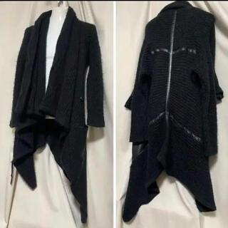 Kmrii ケムリ レザー装飾 オーバーシルエットニットコート モヘア(レザージャケット)
