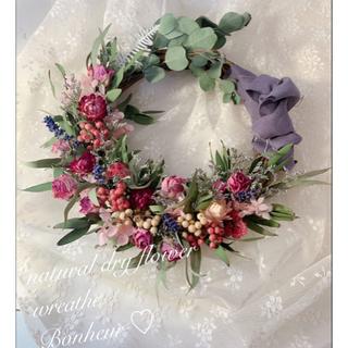 ラベンダーと薔薇さんのお花畑 ドライフラワーリース (ドライフラワー)