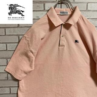 BURBERRY - 90s 古着 バーバリー  ポロシャツ イングランド製 刺繍ロゴ  くすみカラー