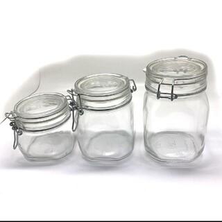 ムジルシリョウヒン(MUJI (無印良品))のガラス 瓶 ソーダガラス 密封ビン 3点 保存容器 セット(容器)