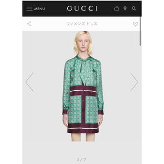 グッチ(Gucci)のGUCCI⬛️インターロッキングG シルクドレス(ひざ丈ワンピース)