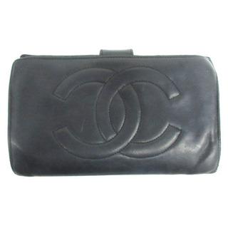 CHANEL - シャネル CHANEL ココマーク 二つ折り 財布 レザー ブラック ジャンク