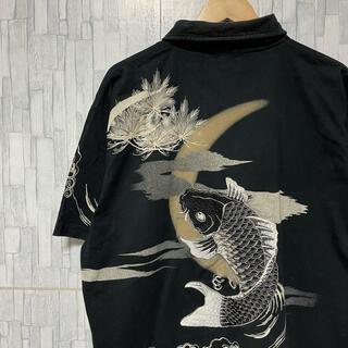 東洋エンタープライズ - 古着 Vintage 総柄 ポロシャツ 鯉 コイ アロハシャツ オーバーサイズ
