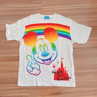 ミッキーマウス(ミッキーマウス)のディズニーリゾート レインボー ミッキー  Tシャツ L(Tシャツ/カットソー(半袖/袖なし))