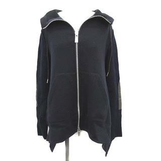 サカイ(sacai)のサカイ 20SS パーカー スウェット ニット 切替 長袖 2 M 紺 ■EC(パーカー)