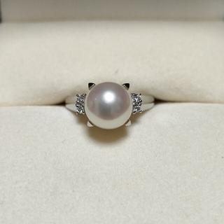 タサキ(TASAKI)の田崎真珠 ダイヤモンド×パール リング Pt900 0.06ct 5.8g(リング(指輪))