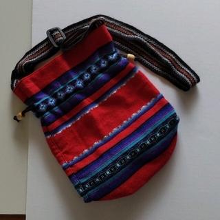 チャイハネ(チャイハネ)の新品未使用 ペルー エスニック雑貨 アジアンバッグ ショルダーバッグ レッド 赤(ショルダーバッグ)