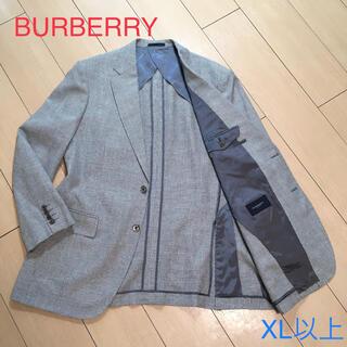 バーバリー(BURBERRY)の極美品★バーバリー シルク&リネン混 極上手裏剣格子織りジャケット 麻 A208(テーラードジャケット)