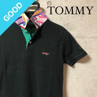 トミー(TOMMY)の《希少》TOMMY トミーヒルフィガー ポロシャツ ロゴプリント ロゴ刺繍 黒(ポロシャツ)